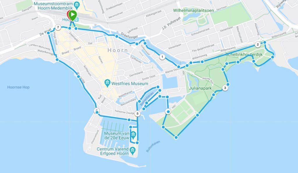 Wandelen rond groen Hoorn - Route